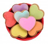 Colorful heart shaped love cookies