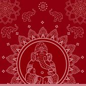 stock photo of ganesh  - Red traditional Indian Ganesh mandala background with elephants and lotus - JPG