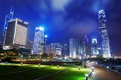 Park in HongKong City at night