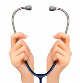 Medical background with hands holding a stethoscope. Raster version