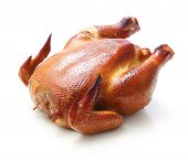 foto of spit-roast  - Roast chicken isolated on white background - JPG