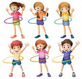 Illustration of the kids playing hulahoop on a white background