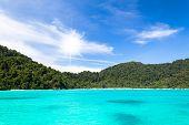 Sea Beach And Mountain With Sun At Surin Island