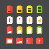 Different accumulator status icons. Flat design icons