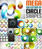 Mega collection of circle shaped compositions - backgrounds, icons, swirl symbols, rotation designs, buttons