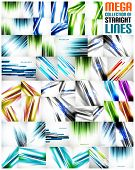 Mega collection of straight line abstract vector backgrounds with copy space. For business / tech design templates, web design, presentations