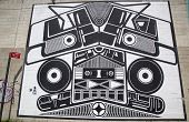 Iconic Super Duper Sound System mural at the India Street Mural Project in Brooklyn