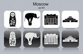 Landmarks of Moscow. Set of monochrome icons. Editable vector illustration.