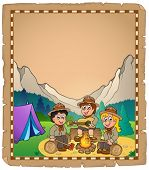 Children scouts theme parchment 2 - eps10 vector illustration.