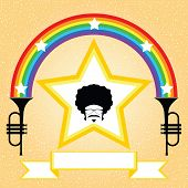 afro hairstyle man on the star background