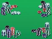Poker fiches on a green background