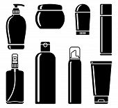 Bottles of cosmetic products