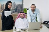 Multiracial Business Meeting in office , arabian businessman & arabian Secretary wearing hijab & a F