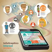Infographic Flat Design Illustration For Global Phone Contacts