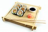 Teriyaki Chicken Sushi On Rustic Bamboo Tray With Soy Sauce And Pickled Ginger