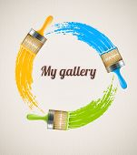 Brushes with paint drawing color circle over textured paper canvas. Eps10 vector illustration.