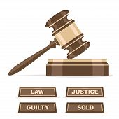 image of nameplates  - Judges gavel or auction hammer vector icon with verdict nameplates - JPG