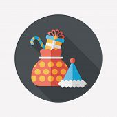 Christmas Gift Flat Icon With Long Shadow, Eps10