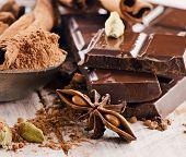 Broken Chocolate Bar And Cacao Powder