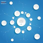 Circles Cycle Networks Infographic Blue Background