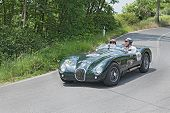 Vintage Sport Car Jaguar Runs In Mille Miglia 2014