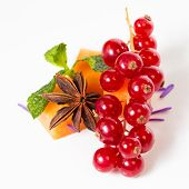 stock photo of fruit platter  - Assortment of delicious cheese and fruits on a white - JPG