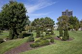 COLUMBUS, OHIO-OCTOBER 12, 2014:  The Deaf School Park Topiary Garden was designed after George Seurat's painting,