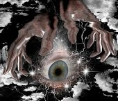 Large eye and hands