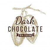 dark chocolate logo template with hand drawn cocoa beans