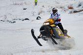Sport snowmobile race on track