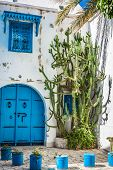 Sidi Bou Said - Typical Building With White Walls, Blue Doors And Windows, Tunisia