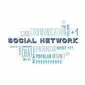 Text cloud of social media and networking related words