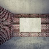 Empty Room Interior With Red Brick Walls And Empty White Poster