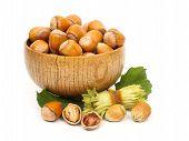 Hazelnuts In Wooden Pot