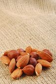 various nuts on hessian fabric
