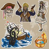 Pirates - An Hand Drawn Colored Vector Pack No.2