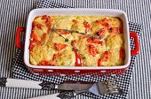 foto of crust  - Vegetables with cheese crust in a ceramic baking dish - JPG