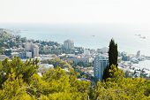 View Of Yalta City And Black Sea Waterfront