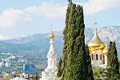 Alexander Nevski Cathedral And Yalta City Houses