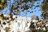 picture of exaltation  - Livadiya Palace and Church in autumn day Crimea - JPG