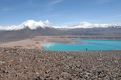 Laguna verde  in Atacama  desert and Licancabur volcano, Chile