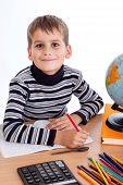 Cute Schoolboy Is Writting