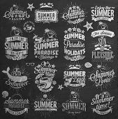 Retro Summer Calligraphic Designs On Chalkboard| Vintage ornaments | All for Summer holidays | tropi