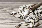 Cinnamon sticks and cardamom on a wooden background