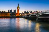 Big Ben, Queen Elizabeth Tower And Wesminster Bridge Illuminated In The Evening, London, United King