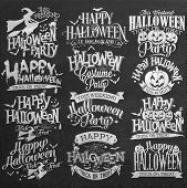 Halloween Decoration Set Of Calligraphic And Typographic Design Elements On Chalkboard