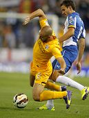 BARCELONA - SEPT, 20: Nordin Amrabat of Malaga CF in action during a Spanish League match against RCD Espanyol at the Estadi Cornella on September 20, 2014 in Barcelona, Spain