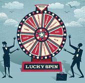 stock photo of money prize  - Abstract Business take the ultimate gamble on the business futures by playing on the Financial Wheel of Fortune - JPG