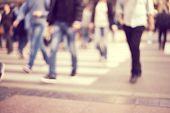 stock photo of pedestrians  - unrecognizable Pedestrians in modern city street - JPG