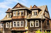stock photo of guest-house  - ruined guest house in the mountain style - JPG